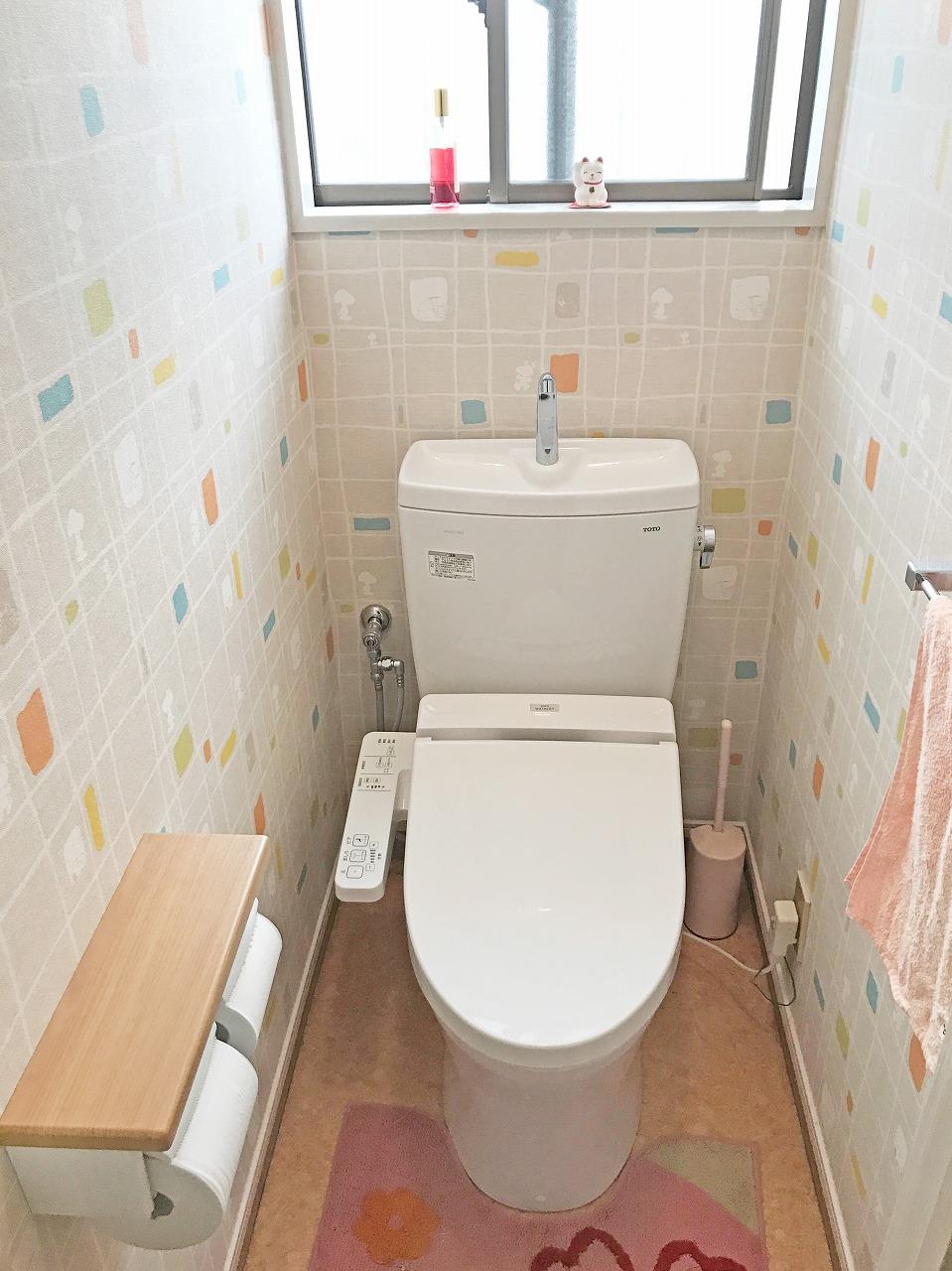戸建て トイレ のリフォーム施工事例 トイレ交換工事 ピュアレストqr 内装込み 流山市 和泉不動産